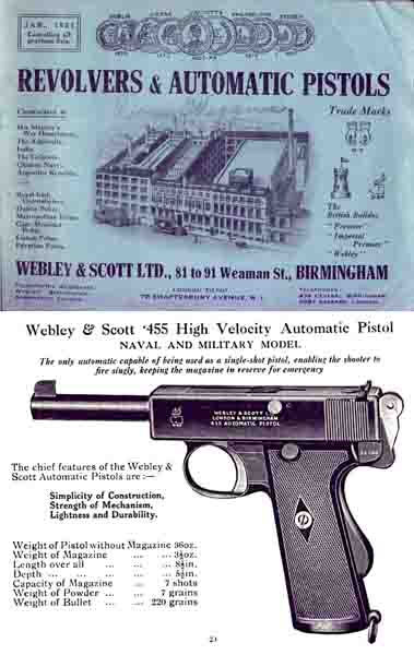 Webley & Scott 1921 Revolvers, Pistols & Air Guns Catalog