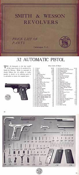 Smith & Wesson 1937 Parts Price List Catalog P-2