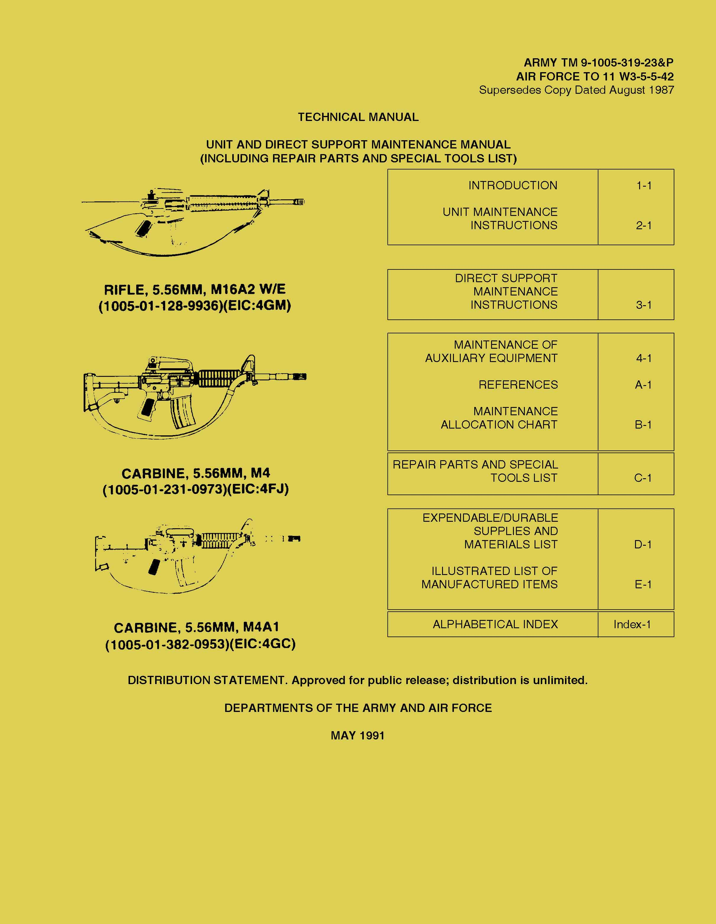 M-16 US Army manual M16A2 W/E and Carbine Technical manual