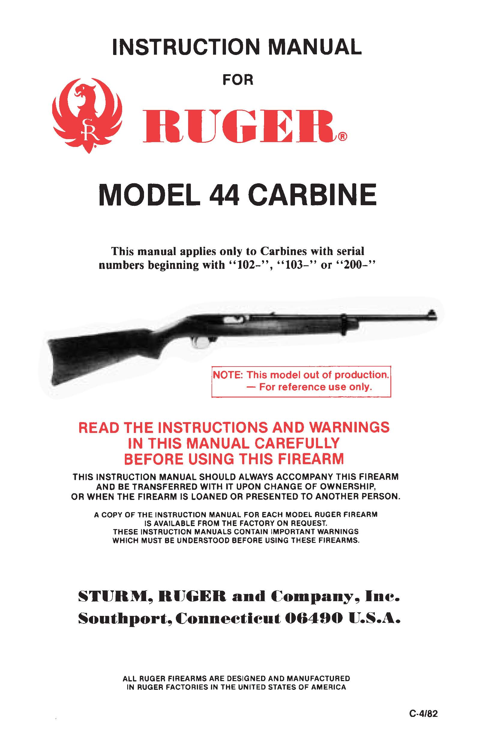 Ruger Model 44 carbine Serial #s starting with 102, 103 or 200 Operations manual