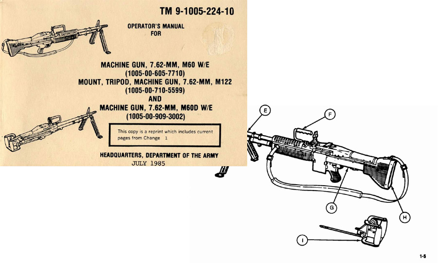 M60 D&W/E; M122 Operator Manual 1985 TM 9-1005-224-10