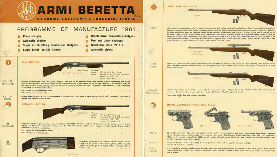 Beretta 1961 Gun, Rifle and Pistol Catalog