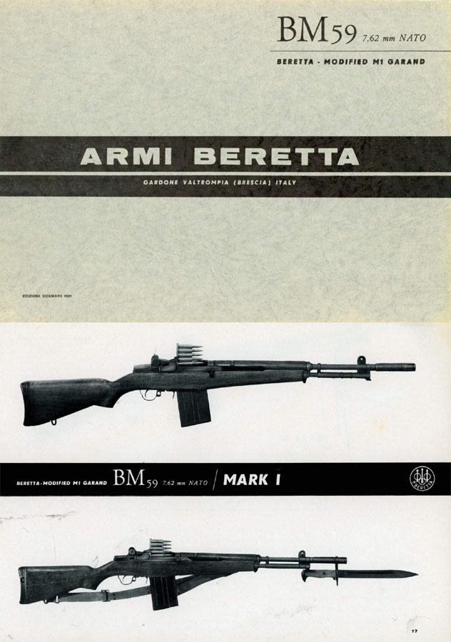 FAL 1961 Beretta BM59 Garand Select Fire Assault Rifle Catalog