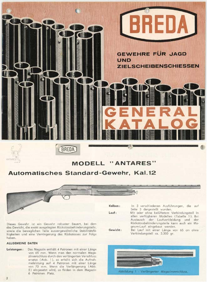 Breda 1963 Shotgun Catalog & Exploded Parts View (Long)