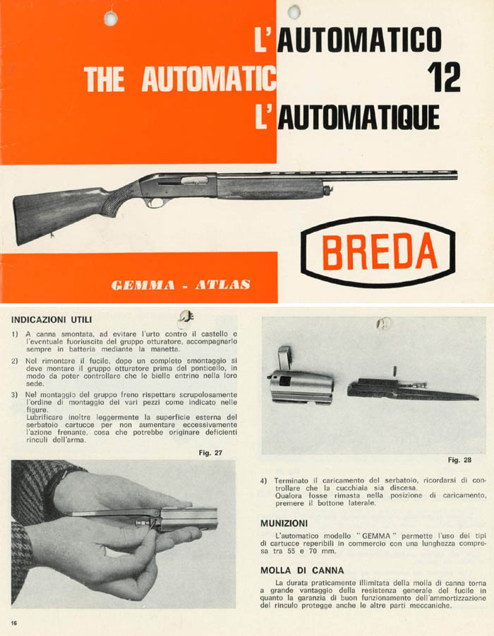 Breda c1975 Gemma-Atlas Shotgun Manual