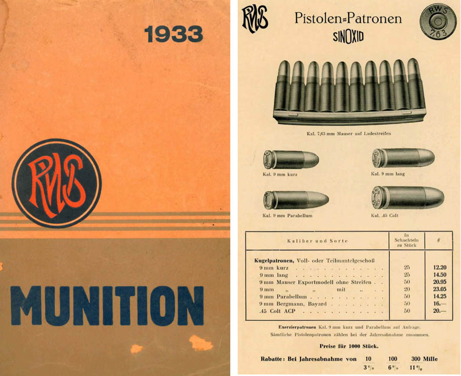RWS 1933 Munitions fur Export Catalog