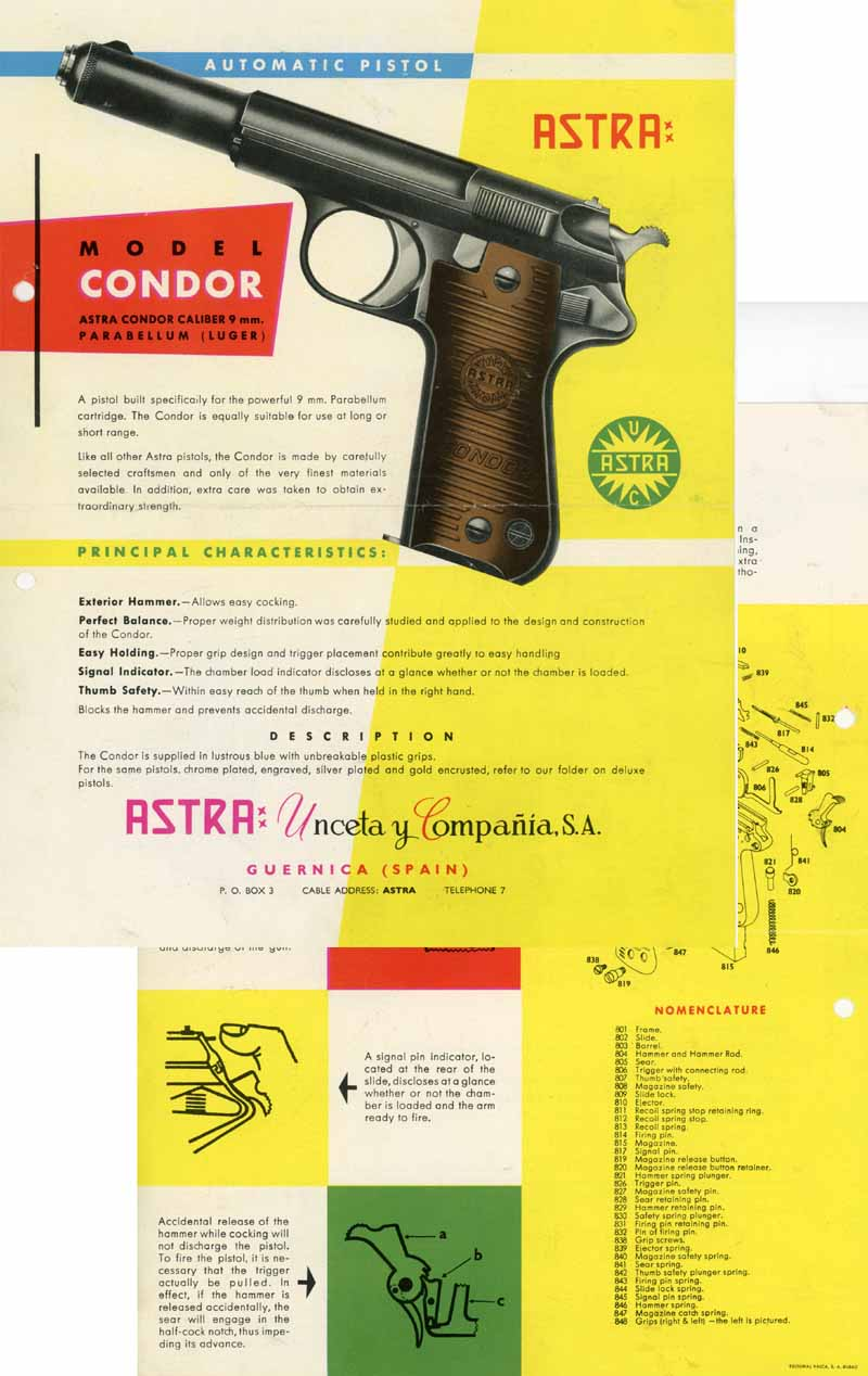 Astra Condor c1964 Model 9mm Pistol Flyer/Manual