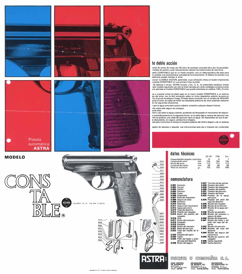 Astra Constable c1971 Model Pistol Flyer/Manual