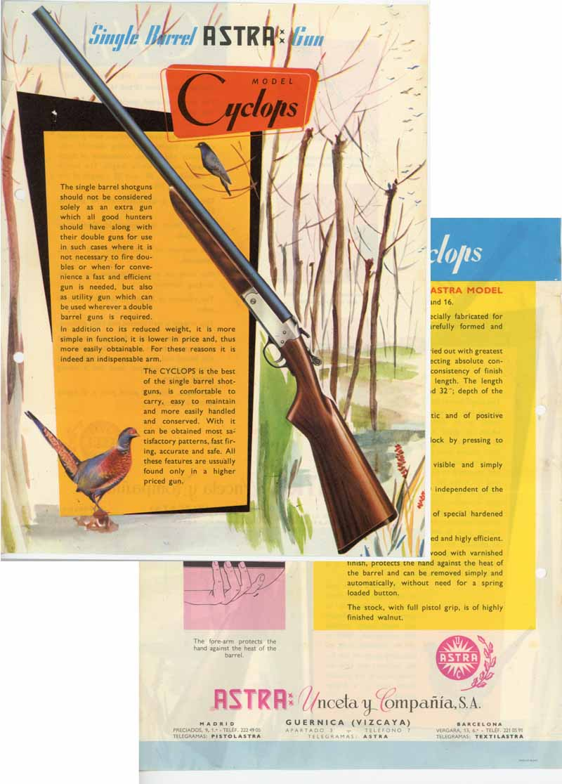 Astra Cyclops c1965 Shotgun Flyer/Manual