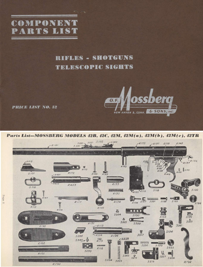 Mossberg c1952 Parts Catalog
