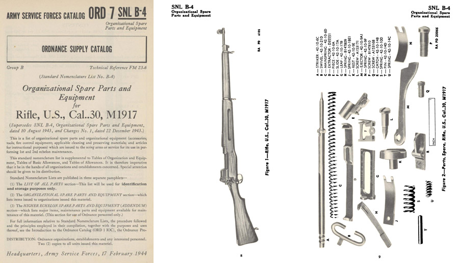 US Rifle 1944 M1917 Spare Parts ORD 7 SNL B-4