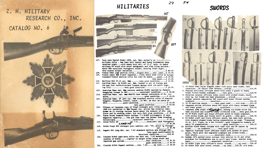 Z.M. Military Research Co, Inc c1958 Collector Catalog No. 6