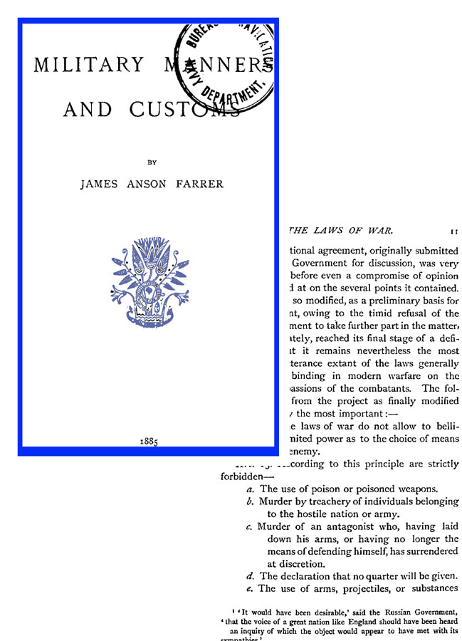 Military Manners and Customs 1885 (UK)