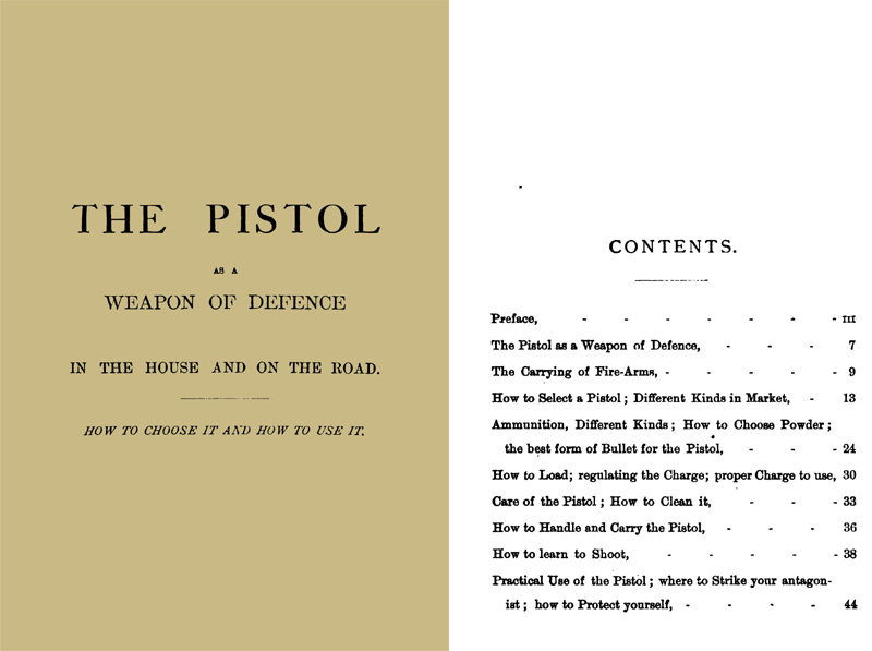 The Pistol as a Weapon of Defence 1875