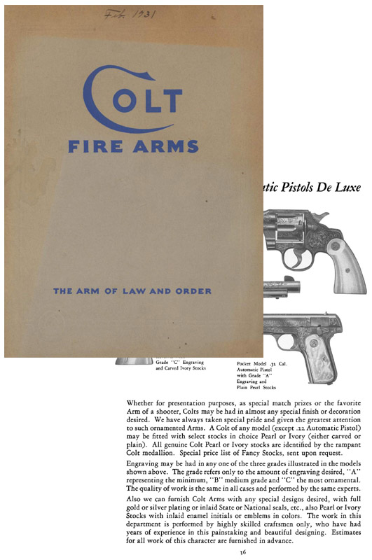 Colt 1931, February Gun Catalog and Price Sheet