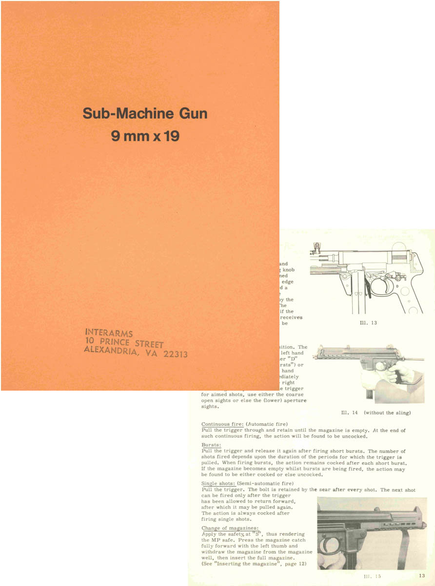 Walther Sub-Machine Gun 9mm x 19 c1965 Parabellum Manual