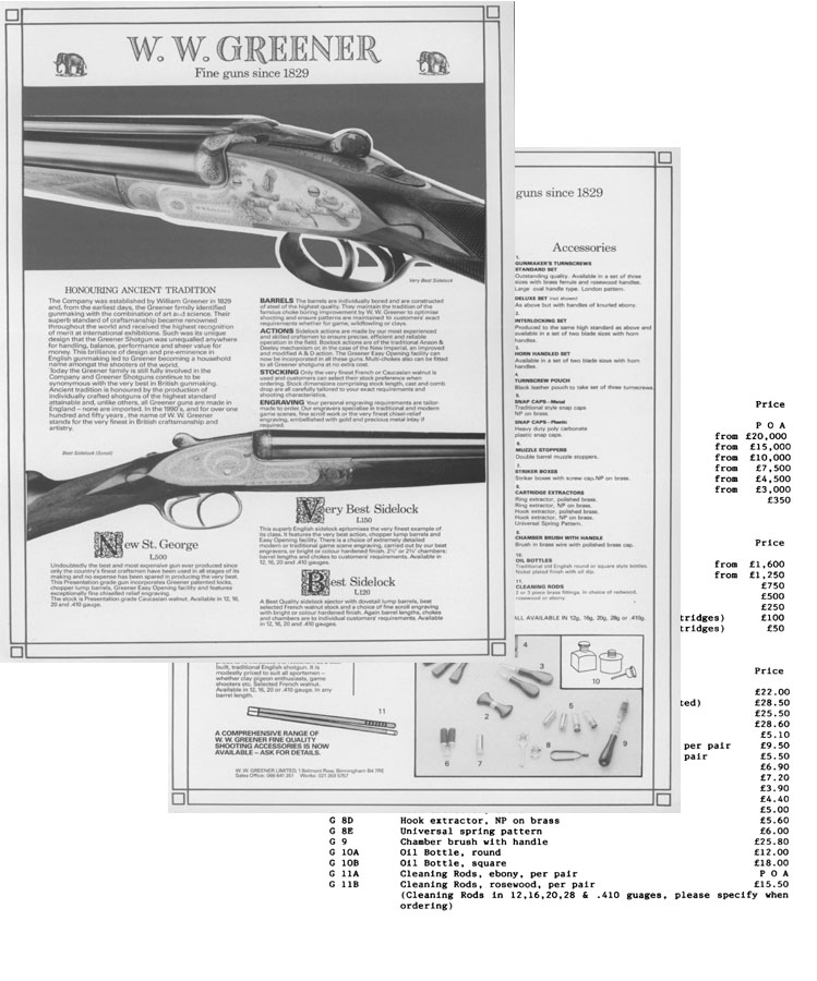 WW Greener 1992 Guns & Price List