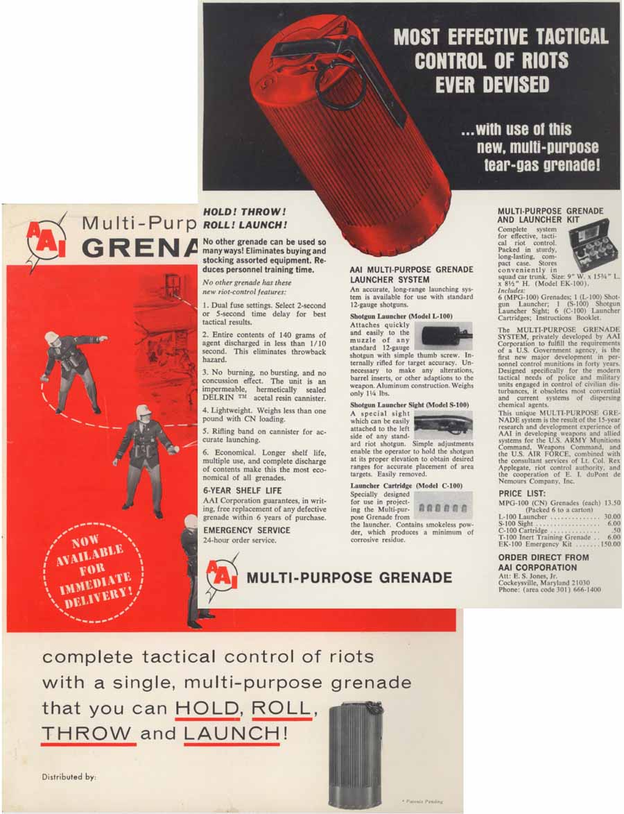 Aircraft Armaments Inc. c1968 Multi Purpose Grenade for Riot Control