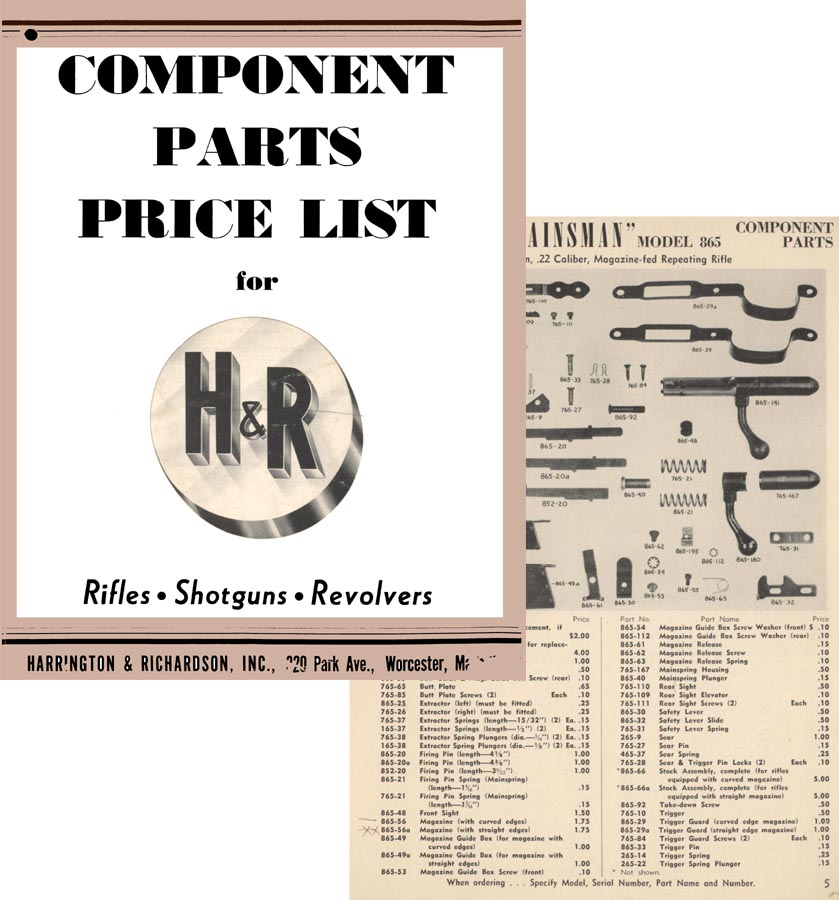 Harrington & Richardson Arms 1964 Component Parts Catalog