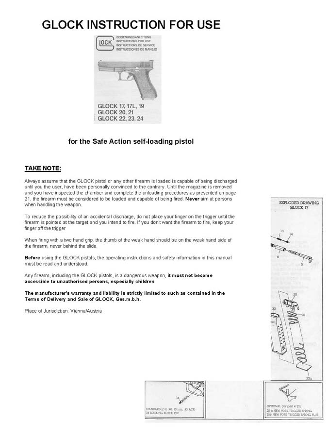 Glock Models 17 17L 19 20 21 22 23 24 Instruction Manual