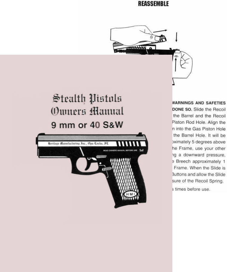 Heritage 9mm & 40 S&W Stealth Pistols Owners Manual