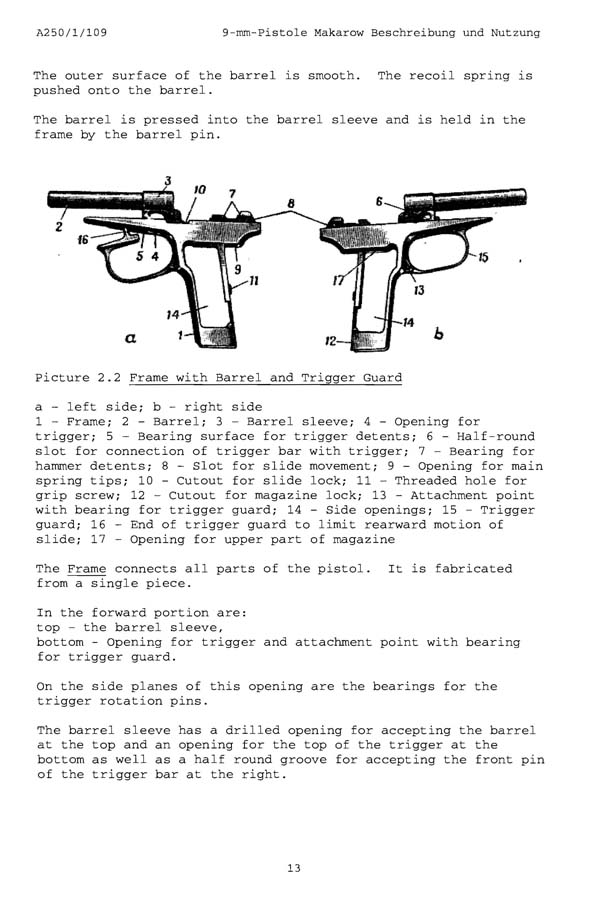Makarov 9mm Pistol Instruction Manual (English Text)