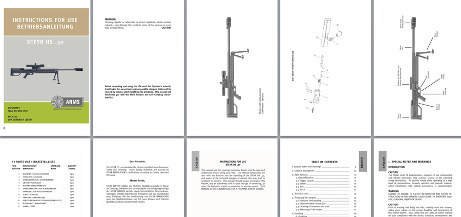 Steyr HS 50 Instruction Manual Betriebsanleitung (English & German Text)