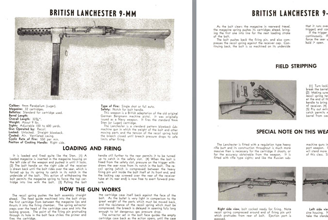 Lancaster (British) 9mm SMG Manual