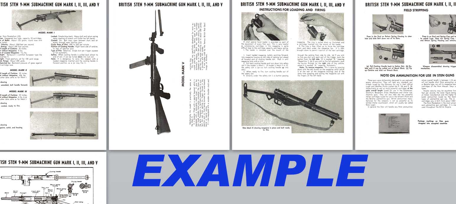 Sten 9mm SMG Mark I, II, III & IV Manual