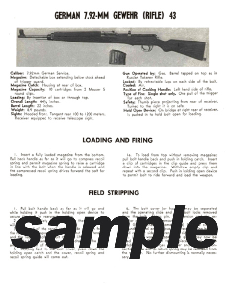 Gewehr (Rifle) 43 German 7.92mm Field Stripping