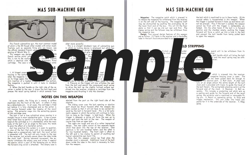MAS (French) Sub-Machine Gun Manual
