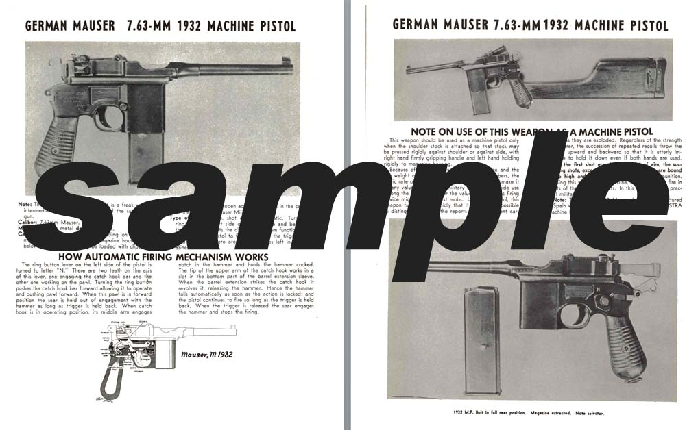 Mauser (German) 7.63mm 1932 Machine Pistol Manual
