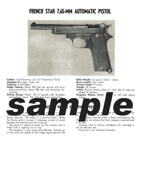 Star (French) 7.65mm Automatic Pistol Manual