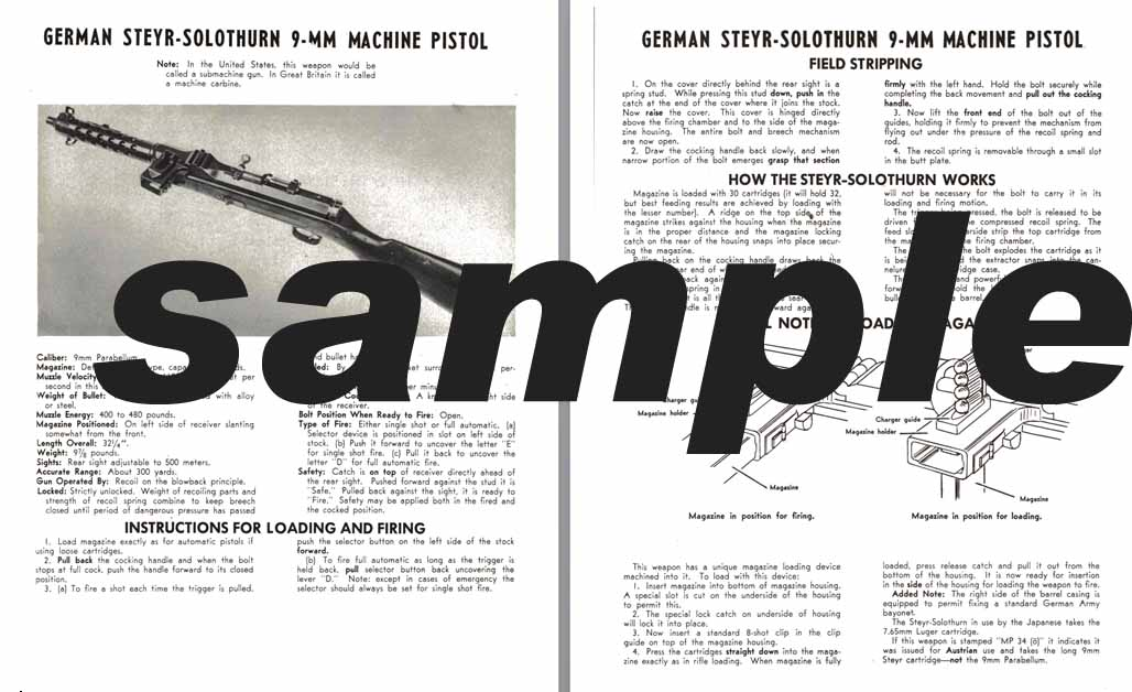 Steyr-Solothurn  (German) 9mm Machine Pistol Manual