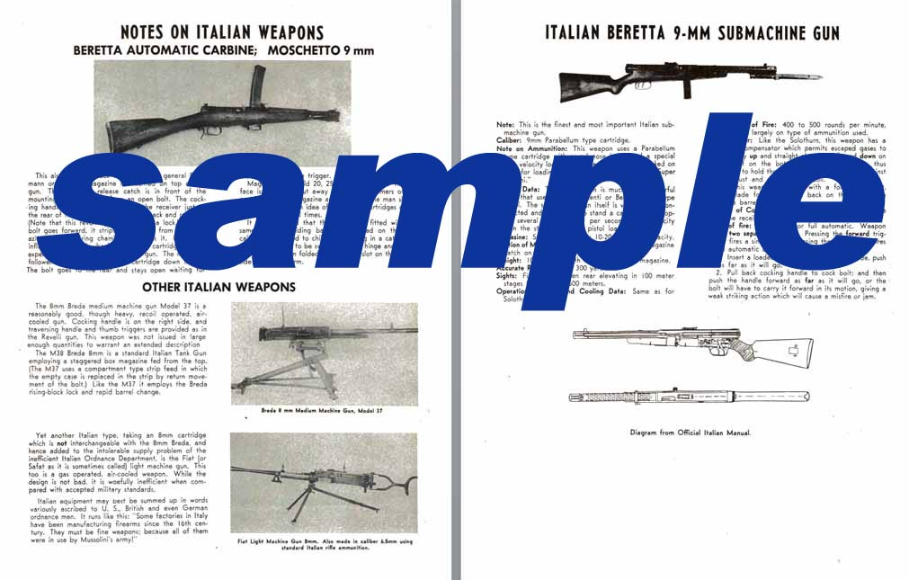 Italian c1950 Machine Guns- Breda M37, Moschetto 9mm, Beretta 9mm SMG etc.