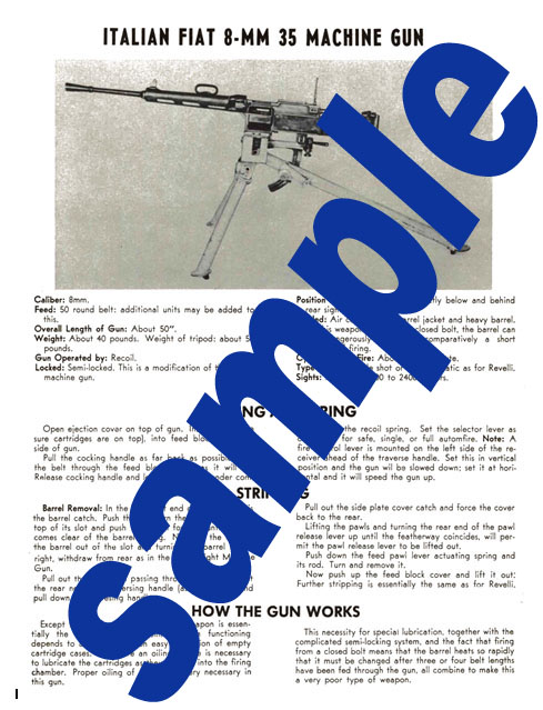 Fiat 8mm 35 Machine Gun Manual