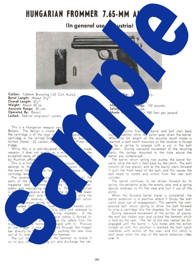 Frommer 7.65 Auto Pistol Description - Hungarian