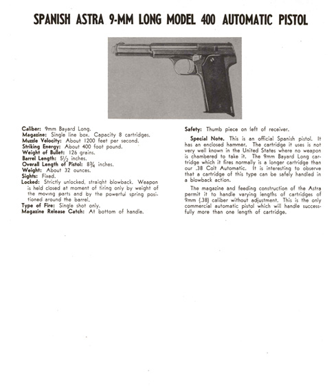 Astra- Spanish 9mm Long Model 400 Automatic Pistol Description