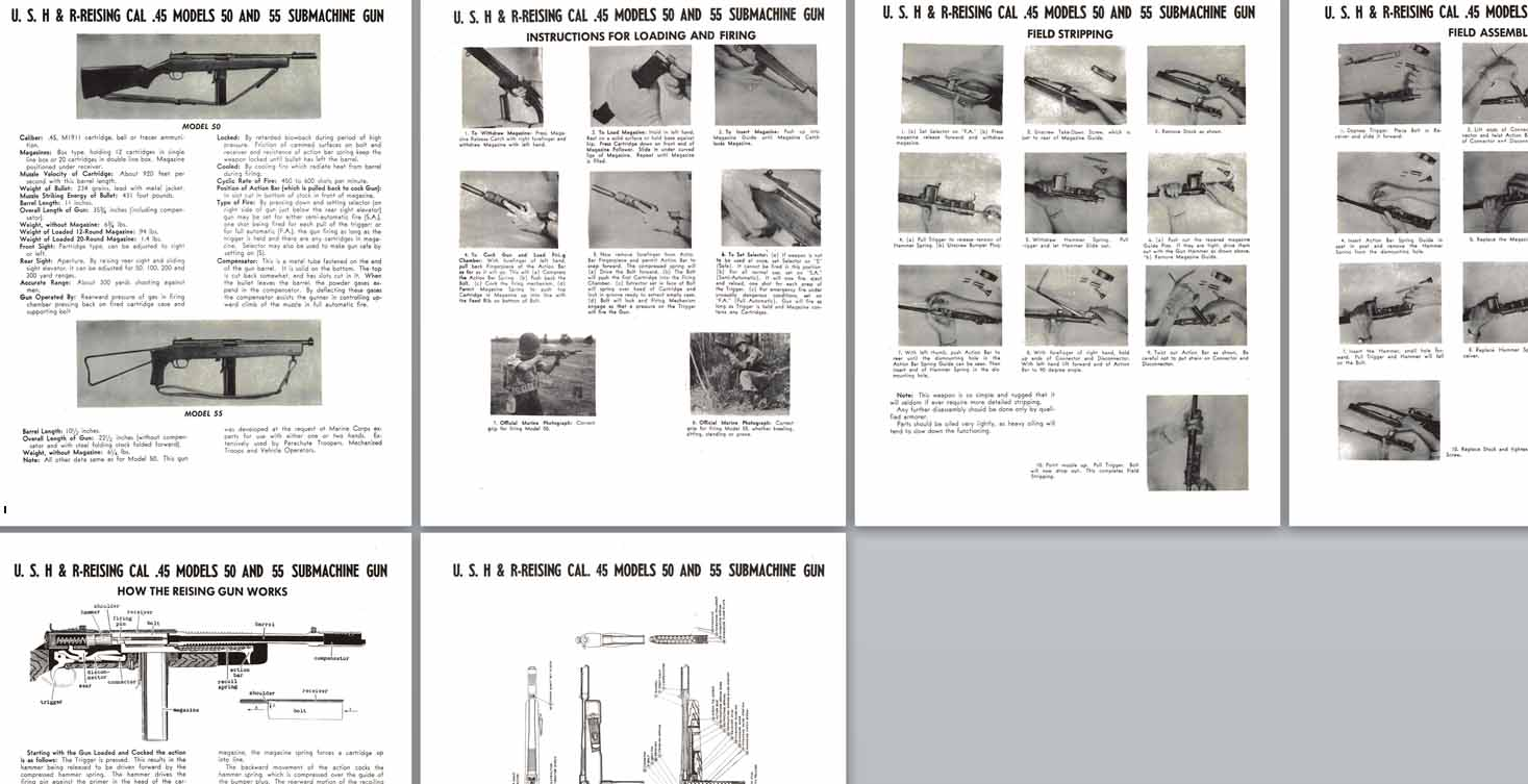 H&R Reising .45 cal Model 50 & 55 Submachine Gun Manual