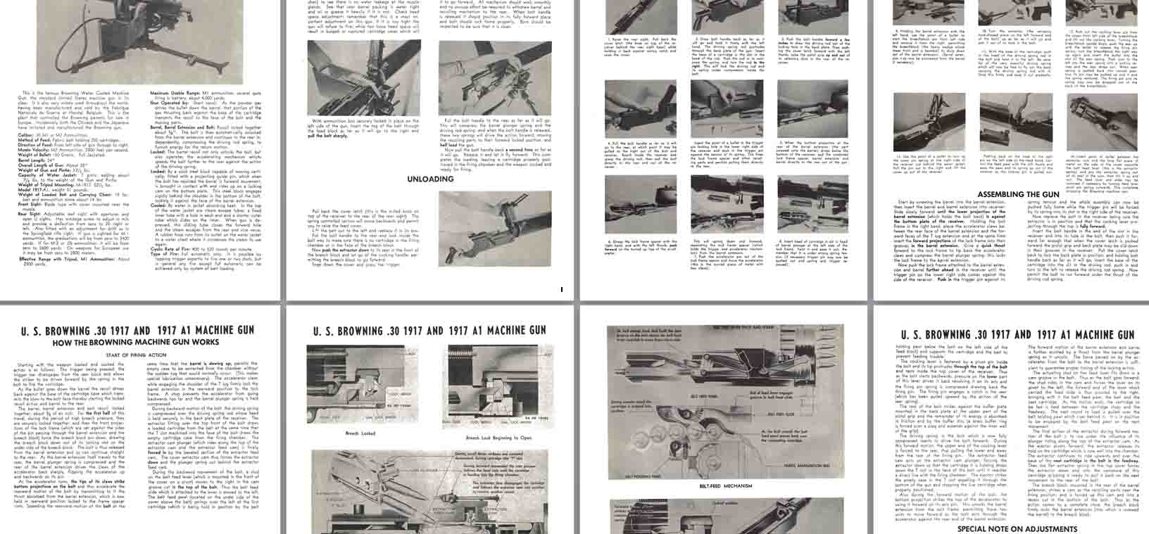 Browning 1917 & 1917A1 .30 Machine Gun Manual c1951