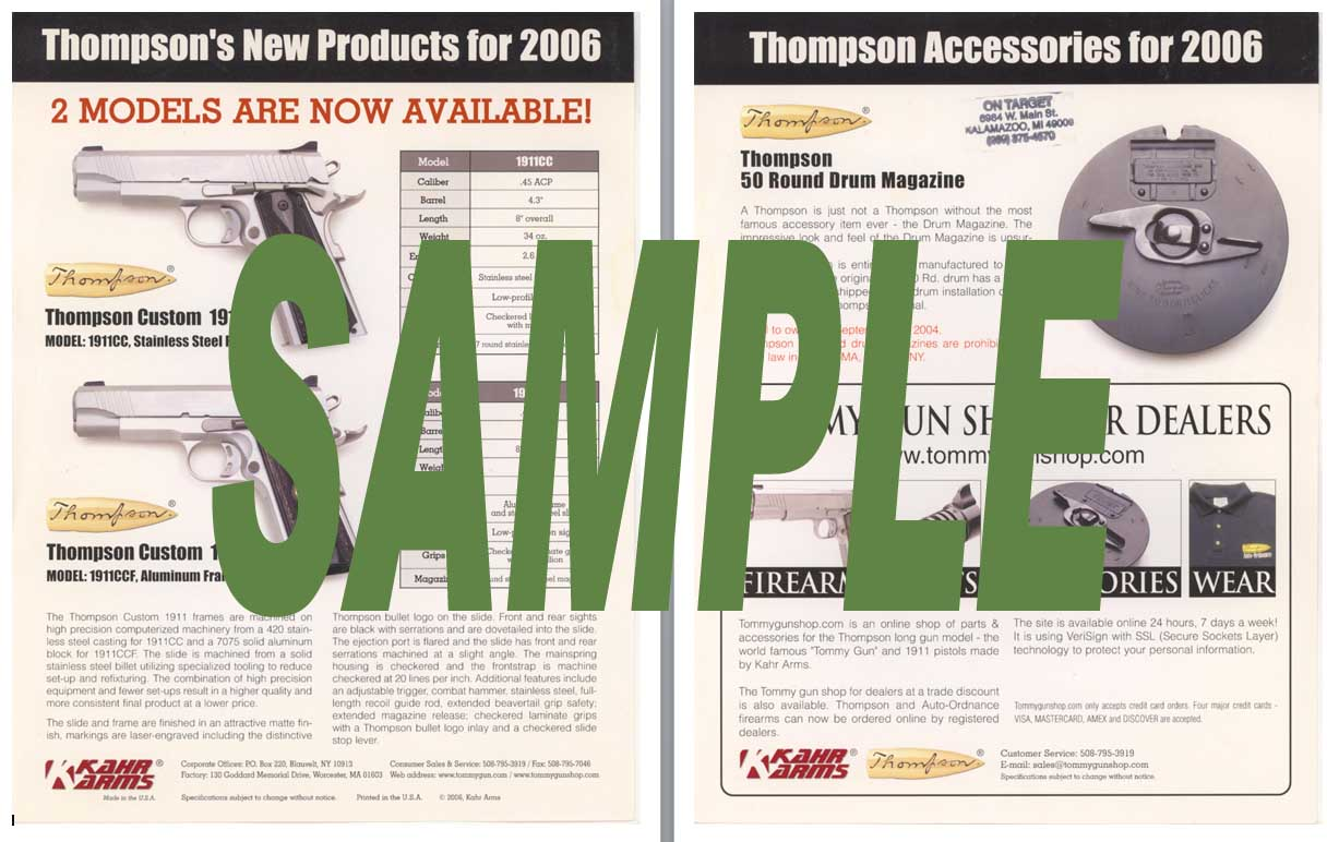 Kahr Arms 2006 Thompson New Products Flyer