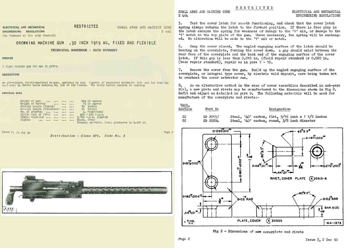 Browning 1961 MG 1919A1 (Brit: L3A3) Technical Handbook (UK)- Manual