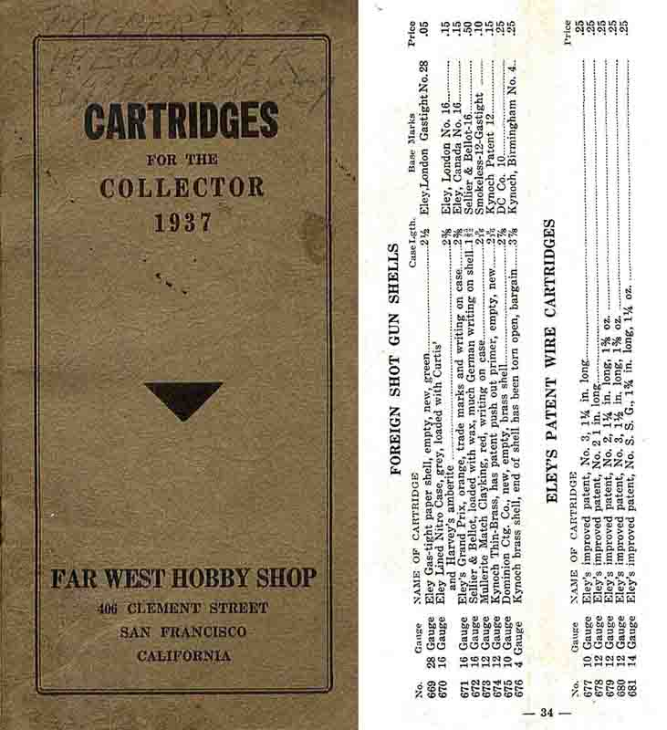 Cartridges for the Collector (Far West Hobby Shop) 1937