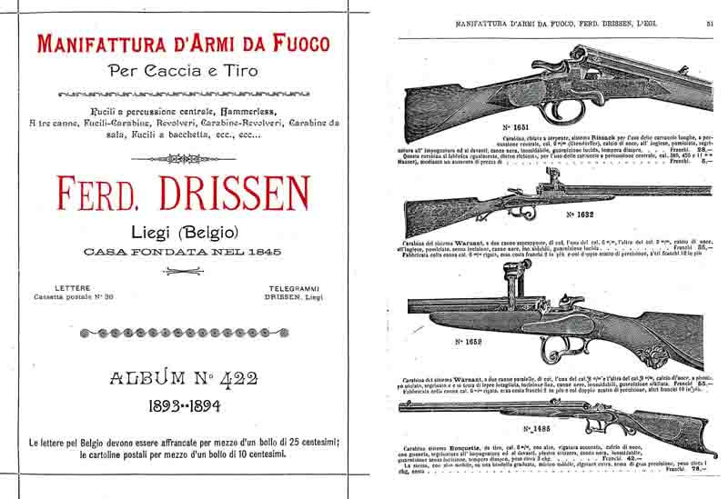 Ferd. Drissen (Liege) 1893-4 Gun Catalog
