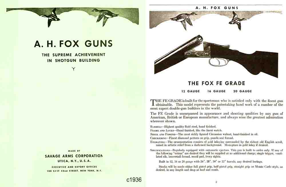 AH Fox c1936 Guns Catalog