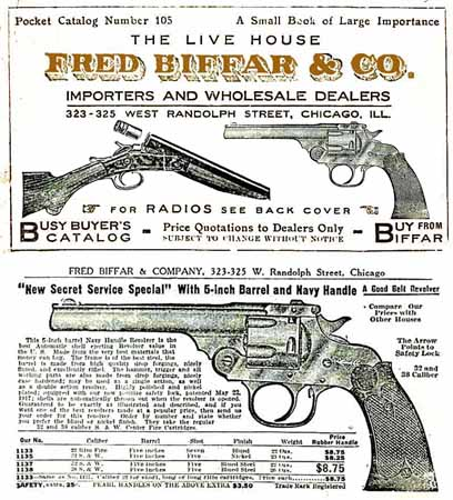 Fred Biffar (Chicago) Gun Catalog c1923