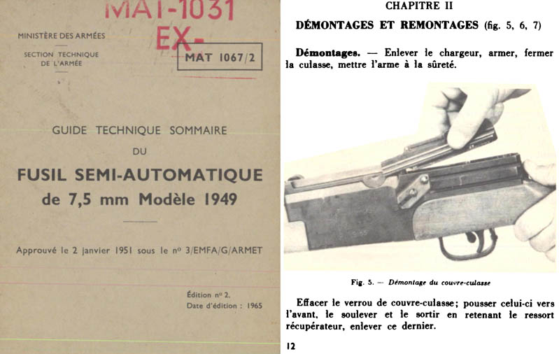 Fusil Semi-Automatique 1965 de 7.5mm M1949 French- Manual