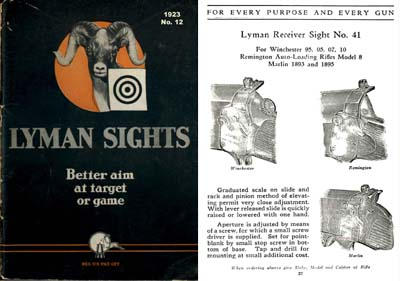 Lyman 1923 No 12 Gun Sight Catalog