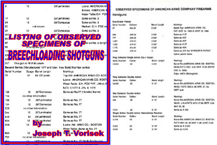 Breechloading Shotguns, Listing of Observed