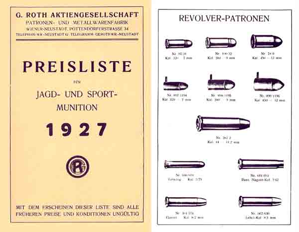 Roth Ammunition (Austria) 1927 Catalog